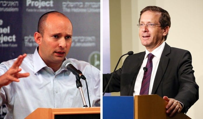 Naftali Bennett og Isaac Herzog. (Foto: The Israel Project og Brookings Institution)