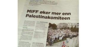 """""""MIFF øker mer enn Palestinakomiteen,"""" melder avisen Dagen 8. januar 2015."""
