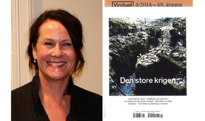 Forfatter Vigdis Hjorth og forsiden av Vinduet nr. 4/2014. (Foto: Chell Hill, Wikimedia Commons)