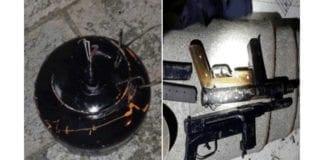 Et av eksplosivene og noen av skytevåpnene som ble konfiskert under arrestasjonen av en terrorcelle i Hebron. (Foto: Shin Bet)