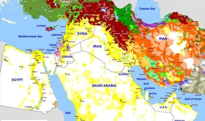 Kartet viser etniske grupper i Midtøsten. Klikk inn i lenken til Vox i artikkelen for å se forklaring under kart nummer 14.