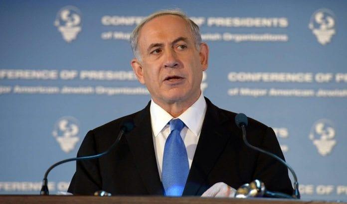Israels statsminister Benjamin Netanyahu taler til Conference of Presidents of Major American Jewish Organizations. (Foto: GPO)
