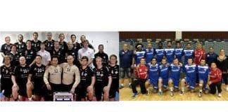 Stord håndballag til venstre, det israelske laget Ramat Hashron til høyre. (Foto: Eurohandball.com)