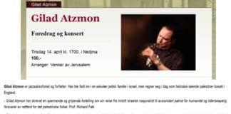 Klipp fra Litteraturhusets annonsering av arrangementet med Gilad Atzmon. (Foto: Skjermdump fra Litteraturhuset.no)