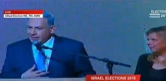 Benjamin Netanyahu taler på valgvaken til Likud. (Foto: Skjermdump fra i24news.com)