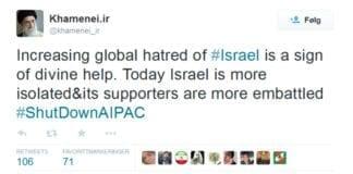 Twittermelding fra Ayatollah Khamenei mandag kveld.