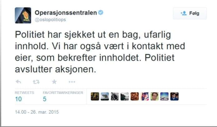 Den siste twittermeldingen fra Oslo-politiet om operasjonen ved synagogen torsdag kveld. (Foto: Skjermdump fra Twitter)