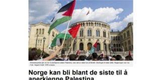 """NTBs sak om Arbeiderpartiets mulige anerkjennelse av """"Palestina"""". (Foto: Skjermdump fra Abcnyheter.no)"""