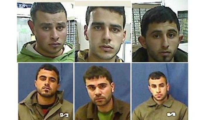 Disse seks er arrestert for å ha gjennomført fem bombeangrep mot israelere i januar og februar. (Foto: Shin Bet)