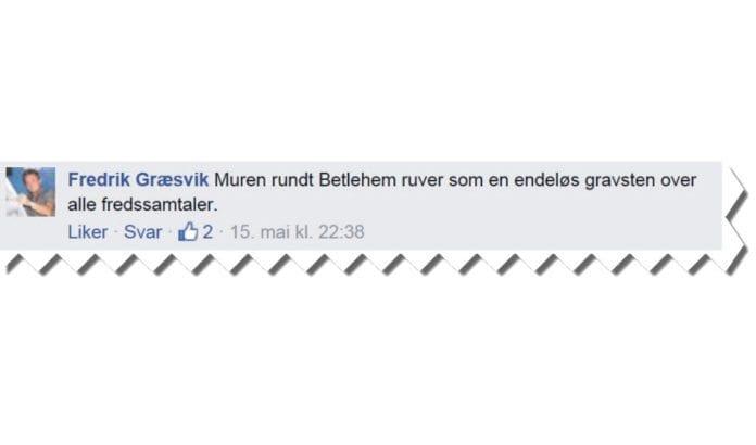 Skjermdump fra Fredrik Græsviks Facebook-side.