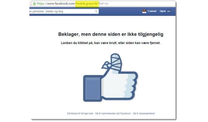 Siden som møter Conrad Myrland, daglig leder i MIFF, når han forsøker å besøke den offentlige Facebook-siden til TV2-journalisten Fredrik Græsvik. (Skjermdump kl. 14.00 torsdag 21. mai 2015)