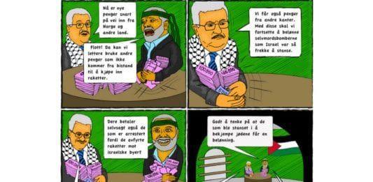Bistandsmidler fra Norge og andre land gjør det lettere for palestinske ledere å bruke andre finansieringskilder til belønning av terrorister og innkjøp av våpen. (Tegning: MIFF)