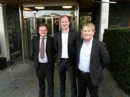 Morten Fjell Rasmussen, Conrad Myrland og Bengt-Ove Nordgård fra MIFF før et besøk i Utenriksdepartementet mandag 4. mai 2015. (Foto: MIFF)