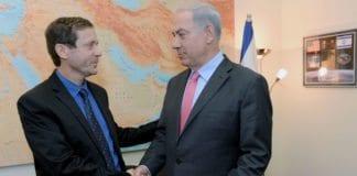 Kan rivalene fra valgkampen, Isaac Herzog og Benjamin Netanyahu, ende opp i regjering sammen? (Foto: GPO)