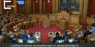 Bare SV stemte for å anerkjenne Palestina i Stortinget torsdag 28. mai 2015. (Foto: Skjermdump fra Stortingets nett-tv)