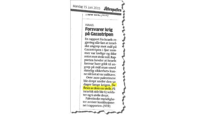 Faksmile av NTBs notis i Aftenposten 15. juni 2015.