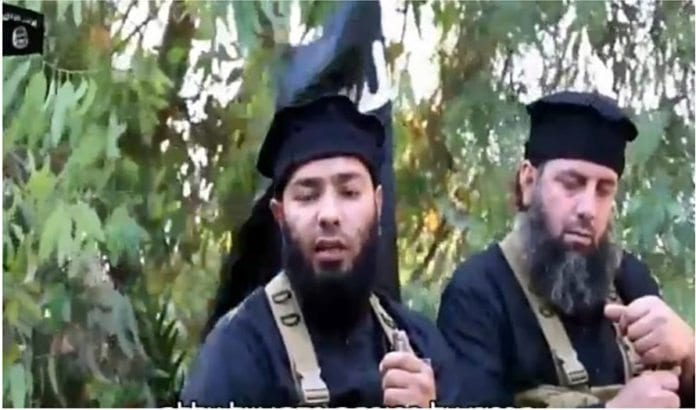 IS-krigere varsler at de vil innta Golan. (Foto: Skjermdump fra *YouTube via Times of Israel)