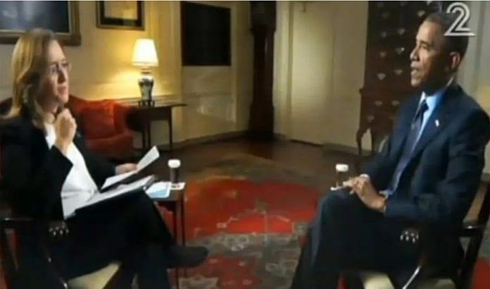 USAs president Barack Obama intervjues av Channel 2. (Foto: Skjermdump fra Channel 2 via Times of Israel)