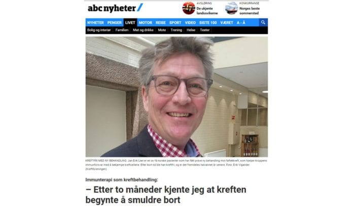 Jan Erik Lien ble reddet av israelsk medisin. (Skjermdump fra ABC Nyheter)