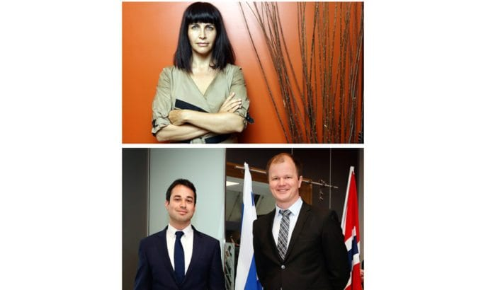 Tidligere Knesset-medlem Einat Wilf, Israels viseambassadør Dan Poraz og MIFFs daglig leder Conrad Myrland holder foredrag under israel-konferansen i Tønsberg.