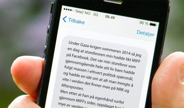 En melding fra en norsk tenåring sendt til MIFF høsten 2014. (Rekonstruert)