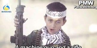 Solisten i en ny musikkvideo fra Fatah er en liten gutt som poserer tungt bevæpnet og synger om krig og dreping. (Foto: Skjermdump fra PMW)