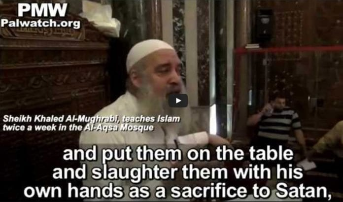 Hatpredikant i al-Aqsa moskeen påstår at jøder driver menneskeofringer til djevelen. (Foto: Skjermdump fra PMW / YouTube før videoen ble fjernet 5. juni)