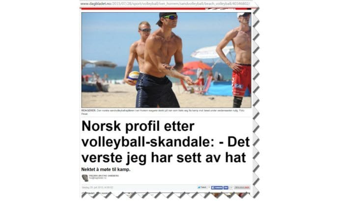 Skjermdump fra Dagbladet.no 28. juli 2015.