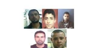 De fem arresterte palestinere. Fra toppen til venstre: Muhammad Abu-Shaheen, Ashraf Omar, Amjad Eduan, Asamah Assad og Muhammad Eduan. (Foto: Shin Bet)