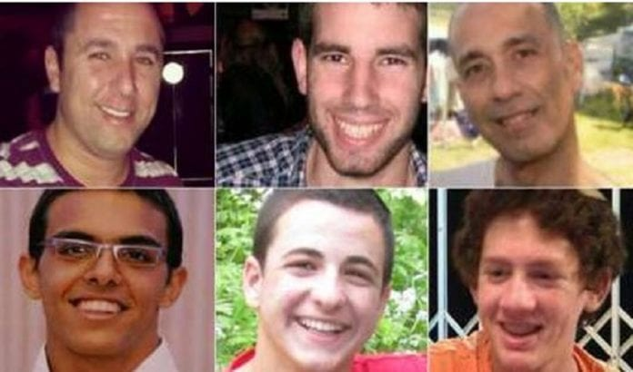 Øverst: Danny Gonen, Malachi Rosenfeld, Baruch Mizrahi. Nederst: Eyal Yifrach, Gilad Shaer og Naftali Frenkel (Foto: I24news)