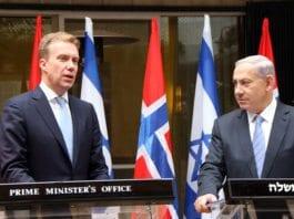 Utenriksminister Børge Brende og statsminister Benjamin Netanyahu i Jerusalem 8. januar 2015. (Foto: Kristin Enstad, UD)