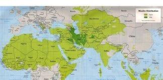 Kartet viser fordelingen mellom sunnier (lysegrønn) og shiaer (mørkegrønn) i den muslimske verden.
