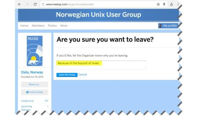 Skjermdump fra privatperson som meldte seg ut av Norwegian UNIX User Group (NUUG) på grunn av deres støtte til filmfestival som boikotter Israel.