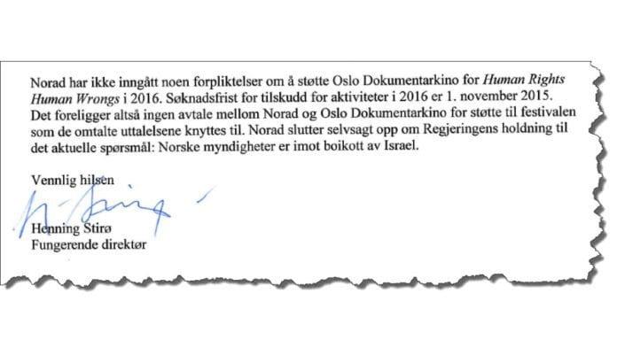Faksmile av siste avsnitt i brevet fra Norad datert 20. august 2015.