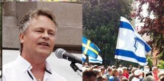 Bengt-Ove Nordgård (innfelt) taler Israels sak i Stockholm søndag 30. august. (Foto: MIFF/ Privat)