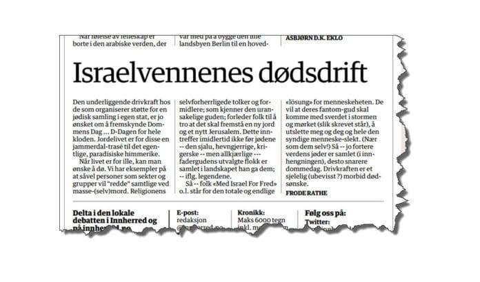 Faksmile fra avisen Inherred 15. september 2015.