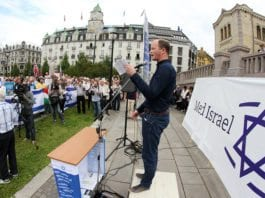 Fra MIFFs støttemarkering for Israel utenfor Stortinget 10. august 2015. (Illustrasjonsfoto: MIFF)