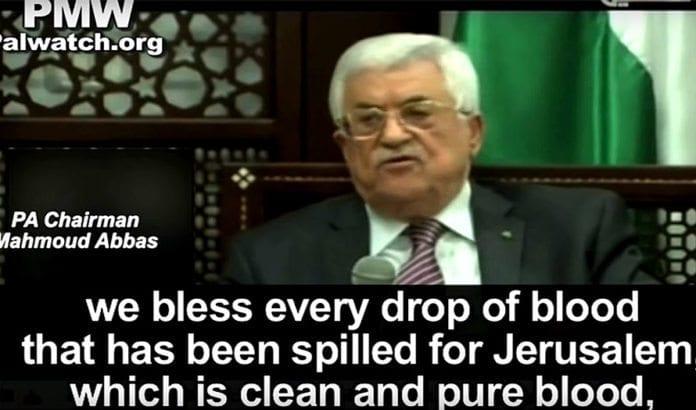 Abbas uttaler seg til opprørerne i Jerusalem på PA TV. (Foto: Skjermdump fra YouTube / PMW)