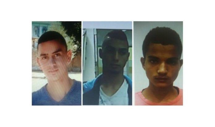 Abed Muhammad Abed Rabo Dawiat (17), Muhammad Salah Muhammad Abu Kaf (18) og Walid Fares Mustafa Atrash (18). (Foto: Shin Bet)