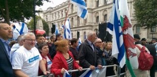 Fra Israel-demonstrasjonen i London. (Foto: Kjetil Ravn Hansen, MIFF)