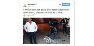 Skjermdump av tweeten som Al Jazeera beklaget. NRKs overskrift i åpning av Kveldsnytt 3. oktober var enda mer ensidig.