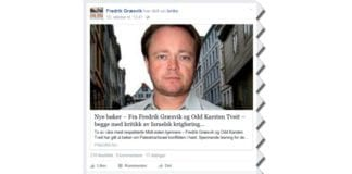 Skjermdump fra Fredrik Græsviks Facebook-side 13. oktober 2015.
