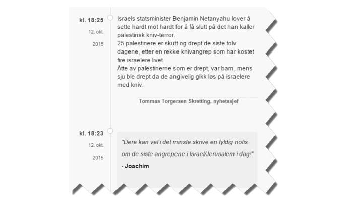 Skjermdump fra livestudio-siden til Stavanger Aftenblad 13. oktober 2015.
