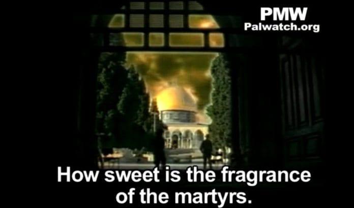 Skjermdump fra musikkvideo sendt på PA TV under den andre intifadaen. På ny bruker offisielle palestinske medier den samme retorikken.