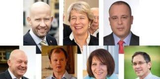 På europeisk Israel-konferanse kan du blant andre høre Tord Lien (oppe fra venstre), Corina Eichenberger-Walther, Hilik Bar, Mark Babot, Conrad Myrland, Olga I. Deutsch og Itamar Marcus.
