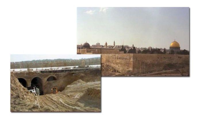 Bildet til venstre viser det enorme hullet som ble gravd på Tempelplassen i 1999. Til høyre sees sørmuren (til venstre) og østmuren (til høyre) av Tempelplassen i mars 1997. Ingeniørrapporter slo fast at de muslimske arbeidene ved Salomos staller truet murenes stabilitet. (Foto: Dan Bahat og Avi Ohayon)