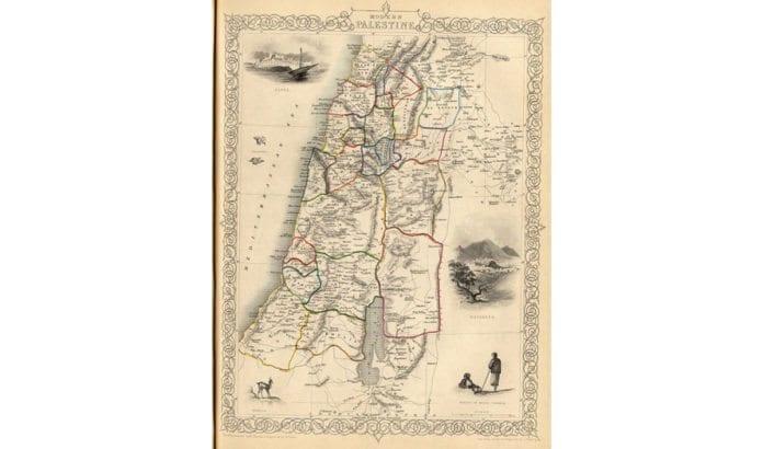 Kart over det geografiske området Palestina fra 1851. Kartet viser de daværende regioninndelingene som det osmanske riket hadde i området. Området ble styrt fra Istanbul. (Foto: Wikimedia Commons)
