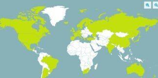 Kart som viser medlemslandene i The Financial Action Task Force uthevet i grønt. (Foto: Skjermdump fra fatf-gafi.org)