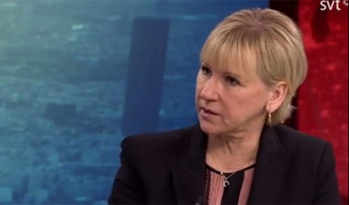 Sveriges utenriksminister Margot Wallström sjokkerte med uttalelelser på SVT2. (Foto: Skjermdump fra SVT2 / Facebook)