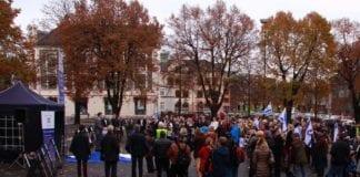 Støttemarkering for Israel i Tønsberg lørdag 7. november. (Foto: MIFF)